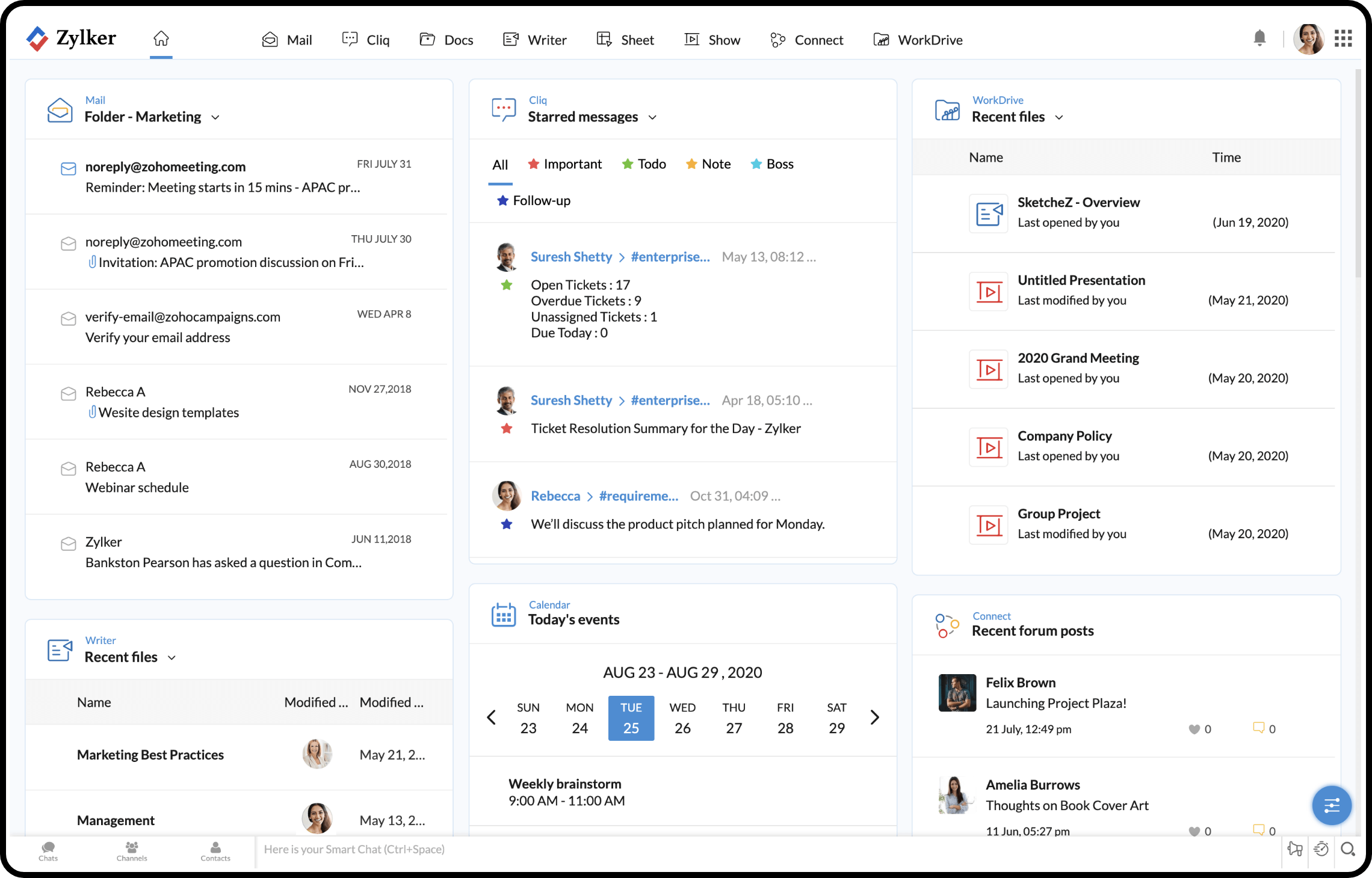 Seamless multitasking with central collaboration dashboard