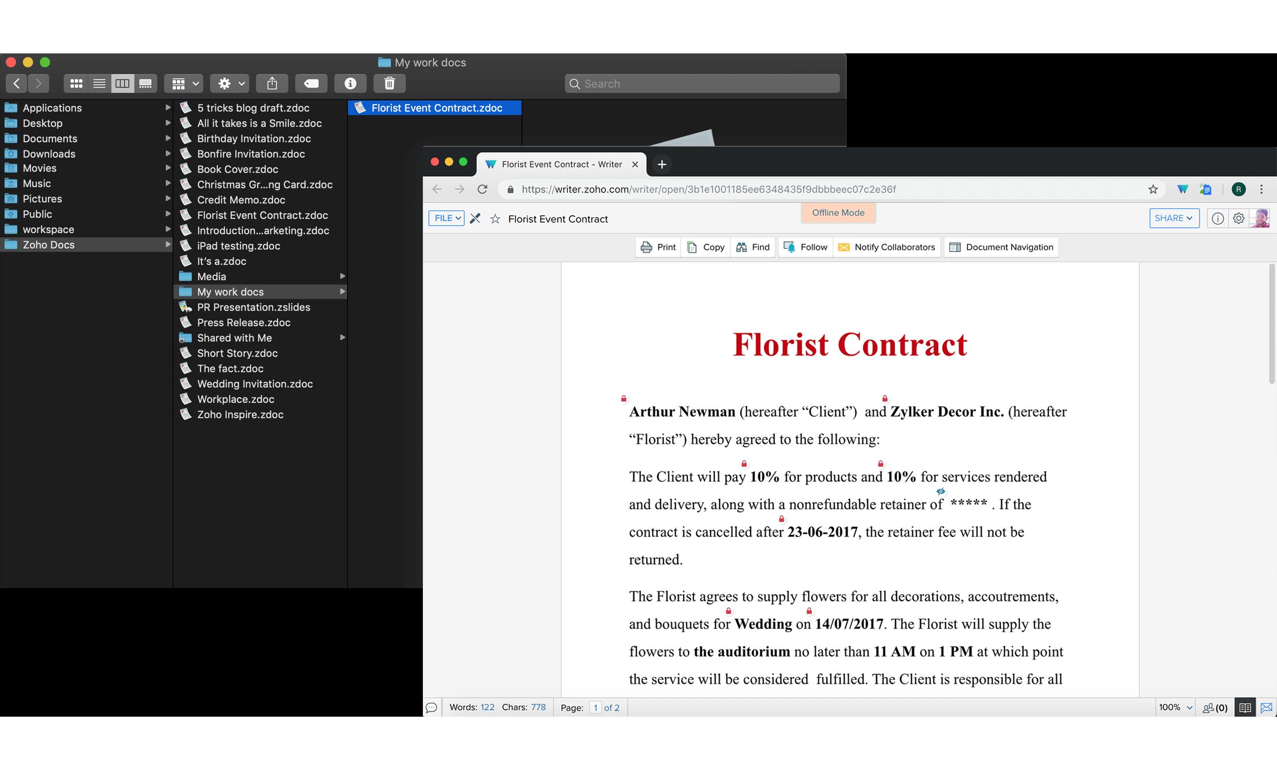 Work offline on your documents | Writer Offline