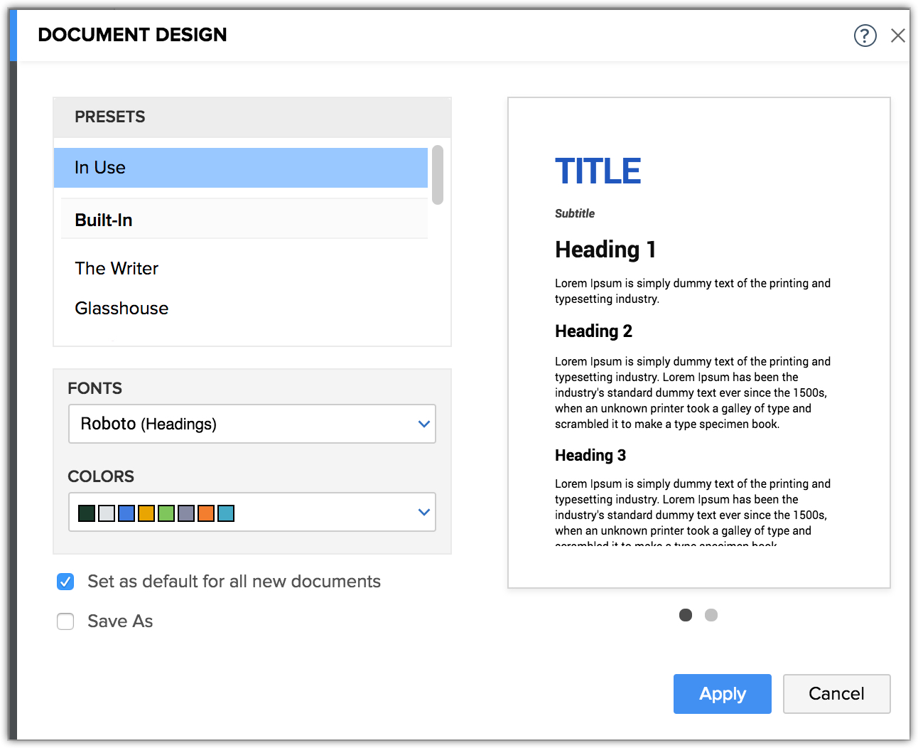 How to customize document design?