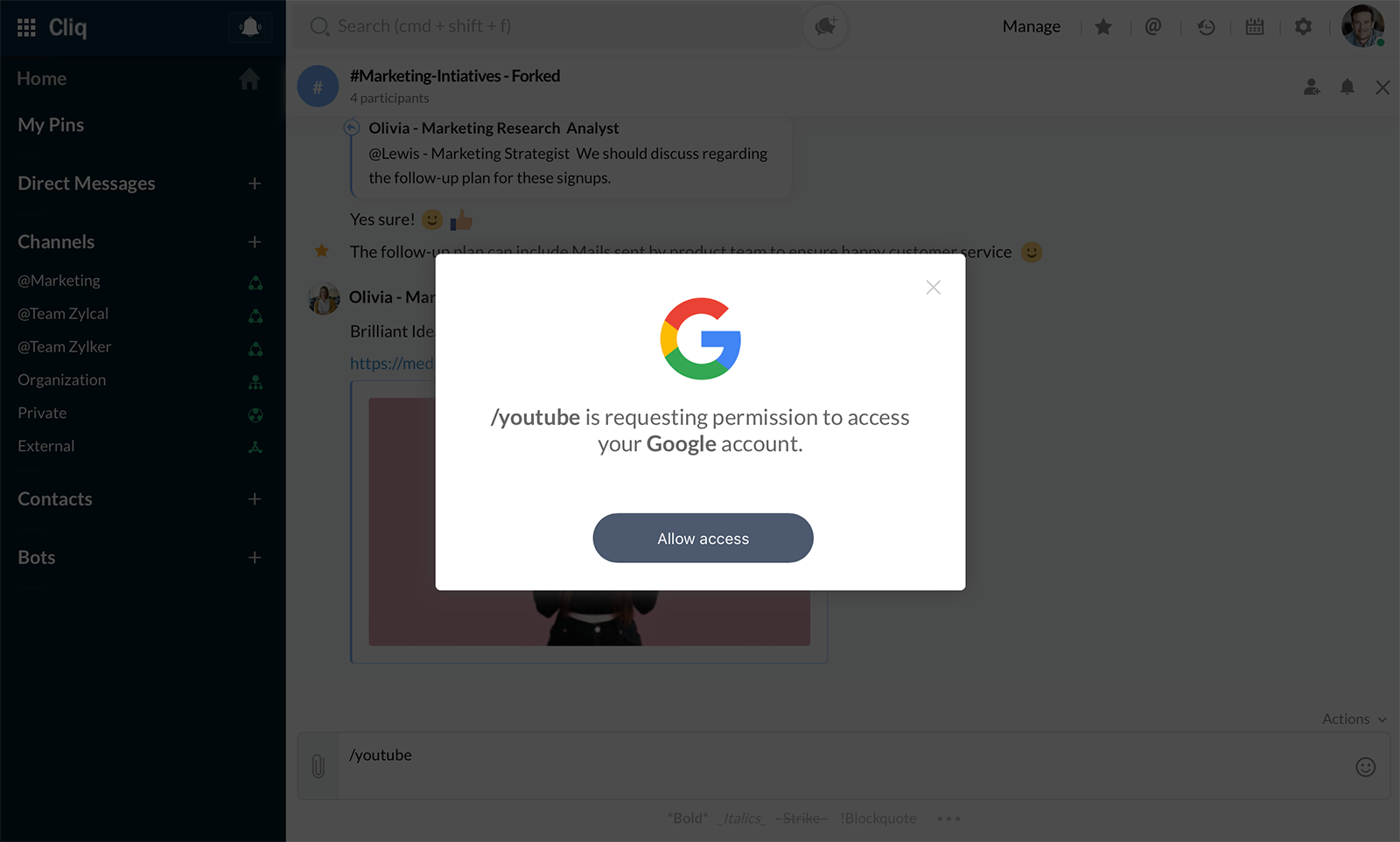 The very first time, YouTube will ask permission to access your Google account