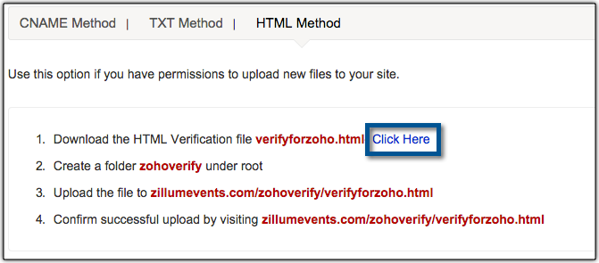 HTML method of verification
