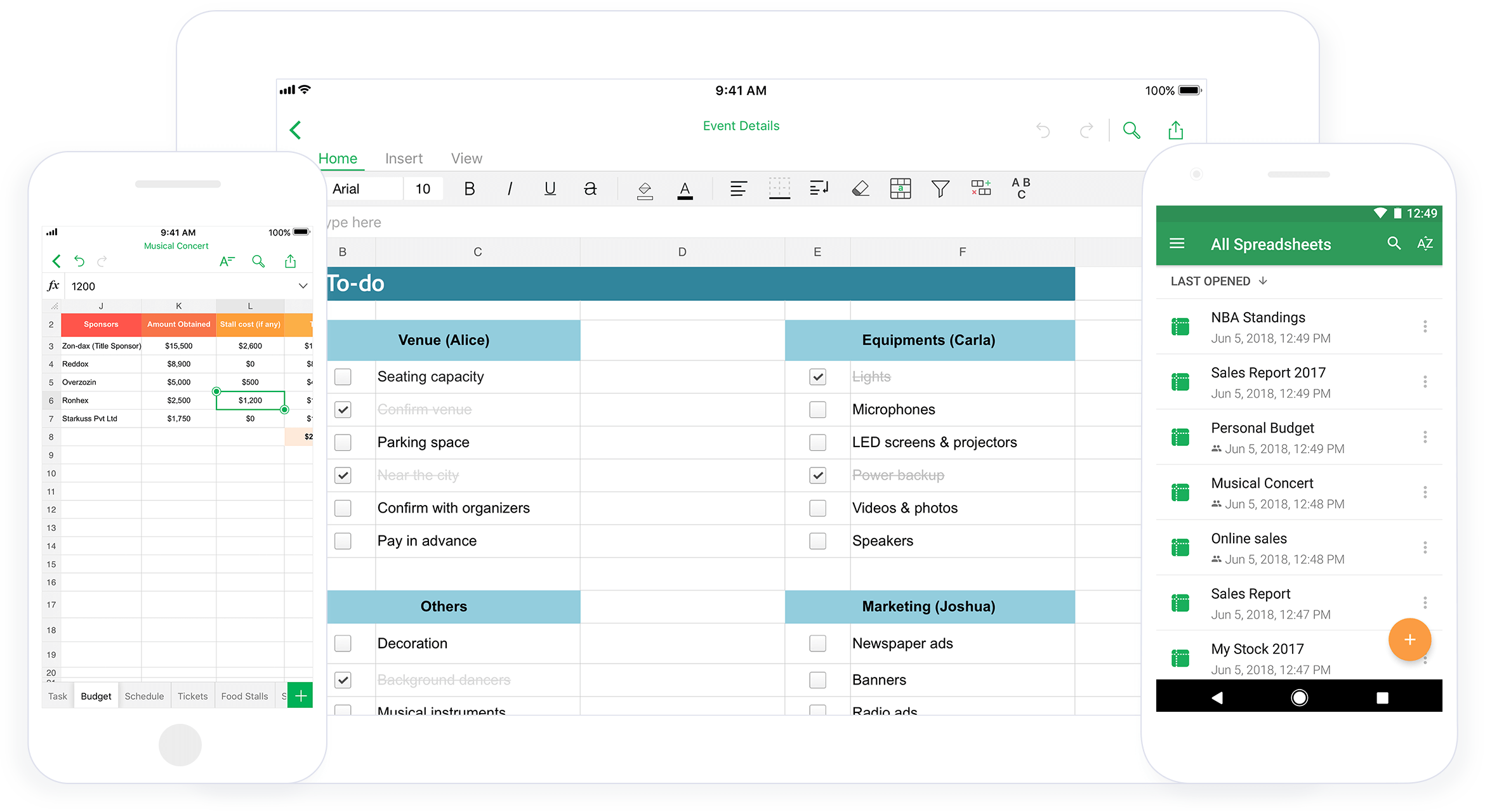 Zoho Sheet for all the devices